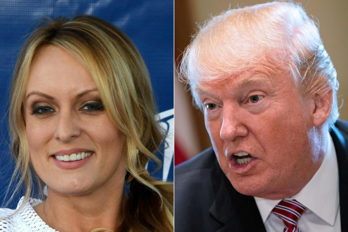 (FILES) In this file photo taken on February 14, 2018 (COMBO) This combination of file pictures created on February 14, 2018 shows a file photo taken on February 4, 2018 of adult film actress/director Stormy Daniels as she hosts a Super Bowl party at Sapp