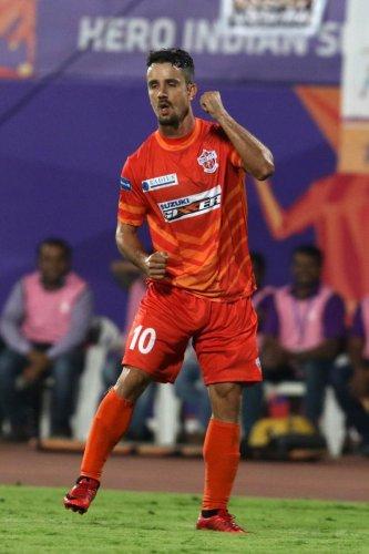 FC Pune City's Marcelinho celebrates after scoring FC Goa at the Shree Shiv Chhatrapati Sports Complex Stadium on Tuesday. SPORTZPICS