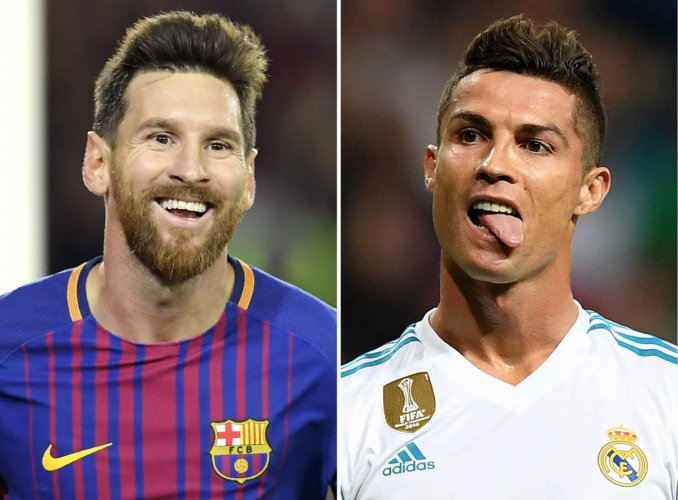 A combination of images shows (L-R) Barcelona's Argentinian forward Lionel Messi, Real Madrid's Portuguese forward Cristiano Ronaldo. Cristiano Ronaldo looks set to match his great rival Lionel Messi on December 07, 2017 by claiming a fifth Ballon d'Or as recognition for leading Real Madrid to a La Liga and Champions League double last season. AFP