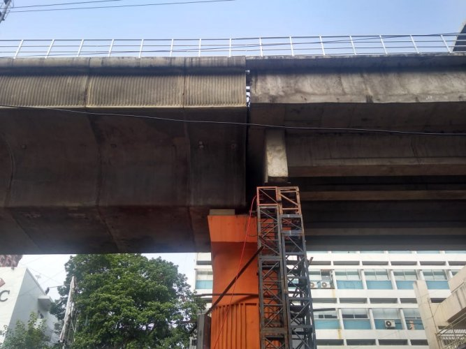 During one of the visual inspections, the officials found honeycomb in a concrete beam near Trinity Station. DH Photo.