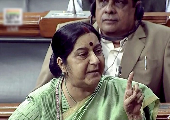 New Delhi: External Affairs Minister Sushma Swaraj speaks in the Lok Sabha in New Delhi on Wednesday, during the Winter Session of Parliament. PTI Photo / TV GRAB(PTI12_27_2017_000025B)