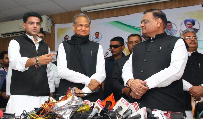 There are two prominent chief ministerial candidates - Congress general secretary Ashok Gehlot and Pradesh Congress Committee President Sachin Pilot. PTI Photo