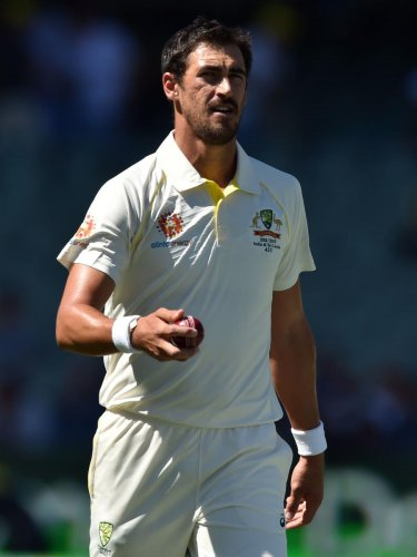 YET TO FIRE: Australia's Mitchell Starc struggled for rhythm in the first Test against India at Adelaide. AFP File Photo