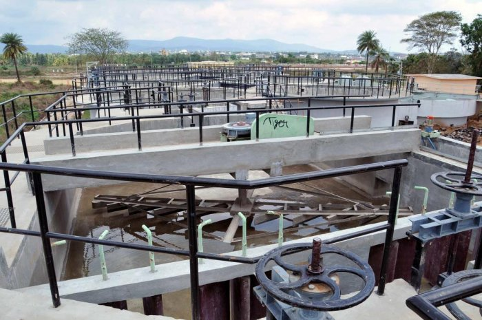 A view of the sewage treatment plant at Hiremagaluru near Chikkamagaluru town.