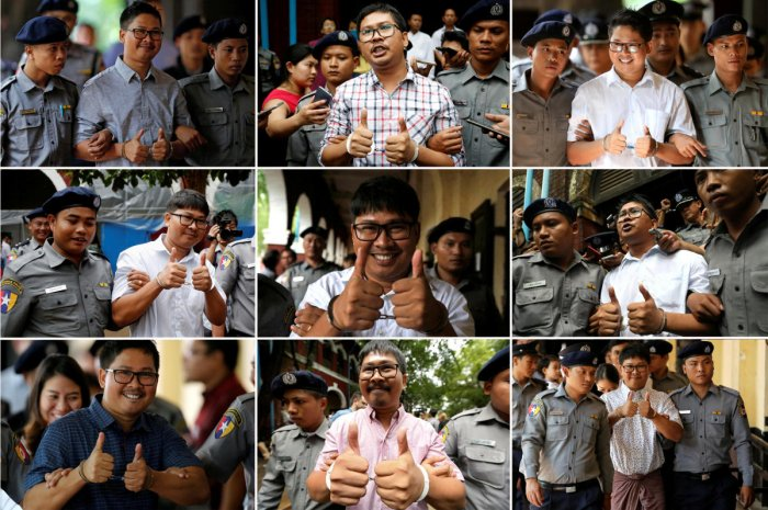This combination picture shows Reuters imprisoned journalist Wa Lone appearing in court in Yangon, Myanmar in 2018. December 12, 2018 marks the one year anniversary of the arrest of Reuters journalists Wa Lone and Kyaw Soe Oo in Myanmar. REUTERS/Ann Wang