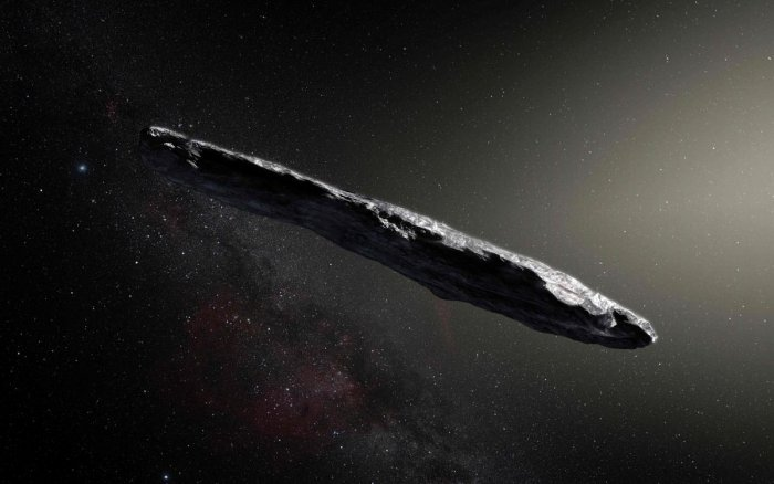 In a handout image released by the European Southern Observatory, an artist's impression of the Oumuamua asteroid, thought to be 800 yards long and 80 yards wide. The discovery of Oumuamua on October 19 set off a worldwide scramble for telescope time to observe it zooming through the solar system at 40,000 miles per hour. (M. Kornmesser/European Southern Observatory )