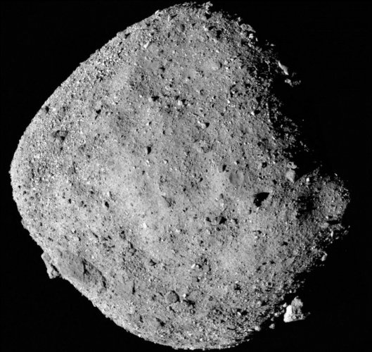 Bennu's diameter, rotation rate, inclination and overall shape presented almost exactly as projected. (Image courtesy NASA/Twitter)