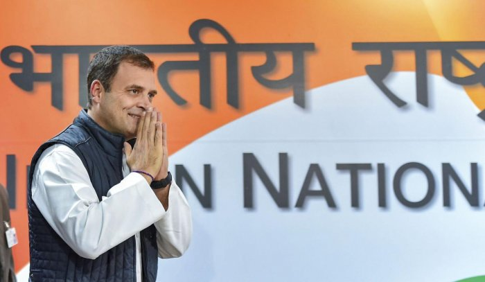 Gandhi held hectic deliberations with Congress workers earlier at his residence ahead of selecting the party's chief ministers for the three states. (PTI File Photo)