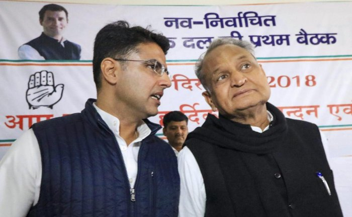Congress leaders Sachin Pilot and Ashok Gehlot during a meeting with newly elected MLAs at the party office in Jaipur on December 12. PTI