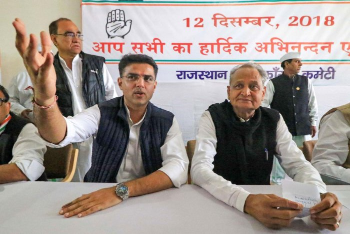 Congress leaders Sachin Pilot and senior leader Ashok Gehlot during a meeting with the newly elected MLA's at the party office, in Jaipur, Wednesday, Dec. 12, 2018. PTI
