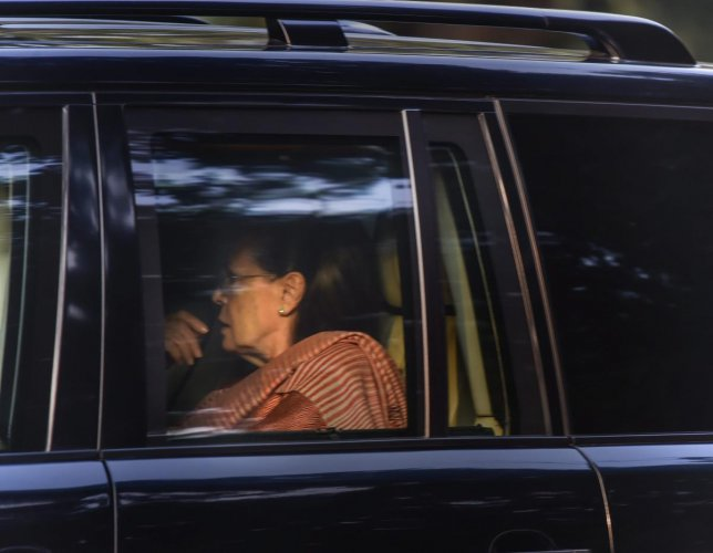 Former Congress president Sonia Gandhi arrives to meet the party President Rahul Gandhi at his residence in New Delhi. PTI Photo