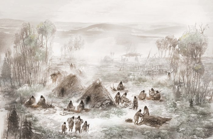 Reconstruction of Upward Sun River residential camp. The infants were buried within the structure in the foreground.  Illustration by Eric S. Carlson in collaboration with Ben A. Potter.