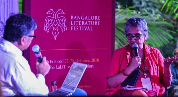 Chitra Subramaniam speaking at Chit Chat on Bofors and Rafale seminar in Bangalore Literature Festival (BLF) at The Lalith Ashok in Bengaluru on Sunday. Chidanand Raighatta is seen. Photo by S K Dinesh