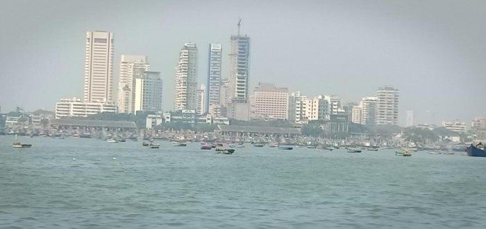 Fishing boats lined along the Sassoon Dock.