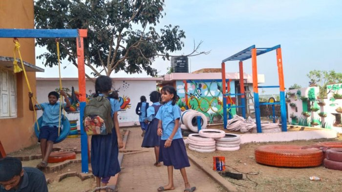 Sahyadri civil engineering students and team Trigon developed a play area for children at Government High School, Angaragundi, Mangaluru.