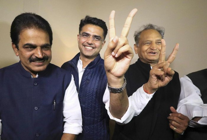 Congress leaders K C Venugopal, Sachin Pilot and Ashok Gehlot after the declaration of Rajasthan Assembly election result, in Jaipur on Tuesday. PTI