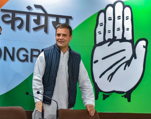 Congress President Rahul Gandhi arrives to address media after the party's win in Assembly elections of Rajasthan, Chhattisgarh and Madhya Pradesh. PTI