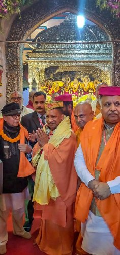 Uttar Pradesh Chief Minister Yogi Adityanath at the Janaki Mandir in Kathmandu, Nepal. PTI/FILE
