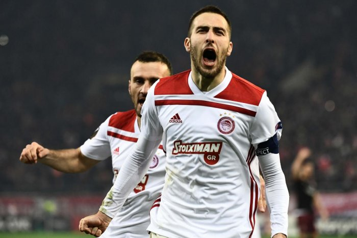 FANTASTIC WIN: Olympiakos' Kostas Fortounis exults after scoring against AC Milan during their Europa League match on Thursday. AFP