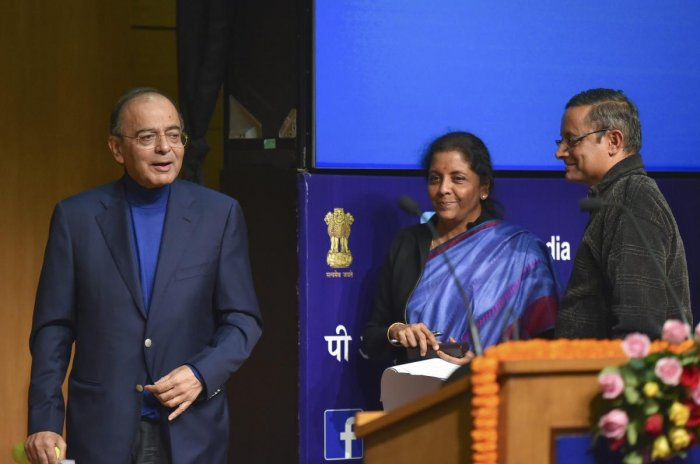 Union Finance Minister Arun Jaitley, Defence Minister Nirmala Sithraman and Defence Secretary Sanjay Mitra after a press conference on Supreme Court's verdict on Rafale case, at National Media Centre in New Delhi, Friday, Dec 14, 2018. (PTI Photo)