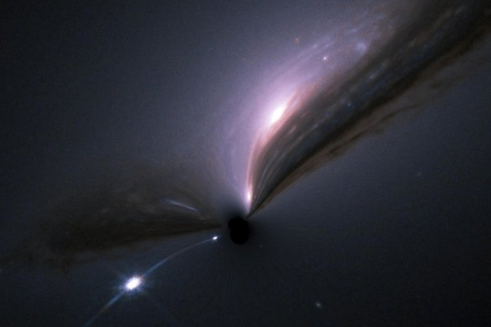 A supernova (bright spot at lower left) and its host galaxy (upper center), as they would appear if gravitationally lensed by an intervening black hole (center). The gravitational field of the black hole distorts and magnifies the image and makes both the galaxy and the supernova shine brighter. Gravitationally magnified supernovas would occur rather frequently if black holes were the dominant form of matter in the universe. The lack of such findings can be used to set limits on the mass and abundance of bl