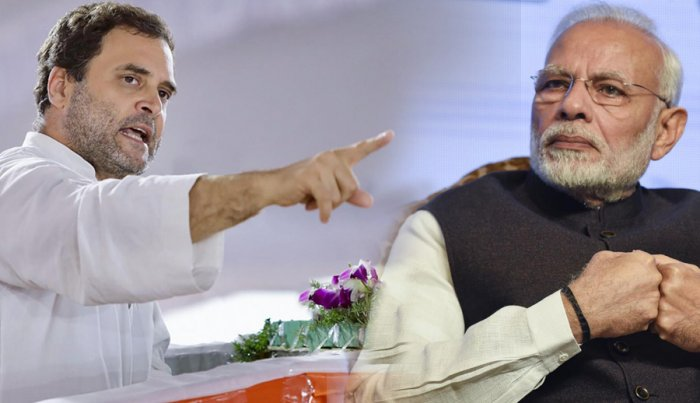Rahul Gandhi targetted Narendra Modi and the BJP government at the Centre during its fourth year in power across various issues.