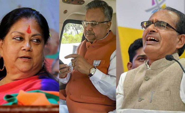 Incumbents Shivraj Singh Chouhan (MP), Vasundhara Raje (Rajasthan) and Raman Singh (Chhattisgarh) could be brought to the central leadership while giving charge of the states to younger leaders. (PTI photos)