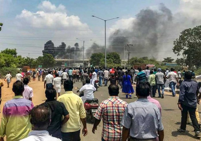 At least 11 people were killed in police firing on Tuesday when the peaceful demonstrations so far against Sterlite turned violent on the 100th day after police prevented them from moving forward. PTI file photo