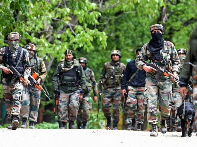 At least four militants were killed in an ongoing encounter with security forces at Rafiabad forests in north Kashmir's Baramulla district on Wednesday. PTI file photo