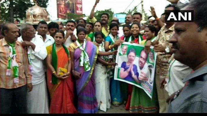 JD(S) workers celebrate in Ramanagaram. ANI photo