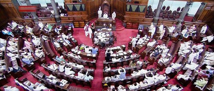 A view of the Rajya Sabha in Parliament House, New Delhi. (PTI Photo/TV GRAB)