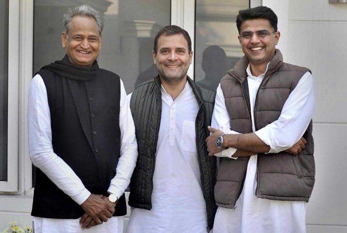 Congress President Rahul Gandhi with Rajasthan Congress President Sachin Pilot and senior party leader Ashok Gehlot at his residence in New Delhi, Friday, Dec. 14, 2018. (Twitter photo via PTI)