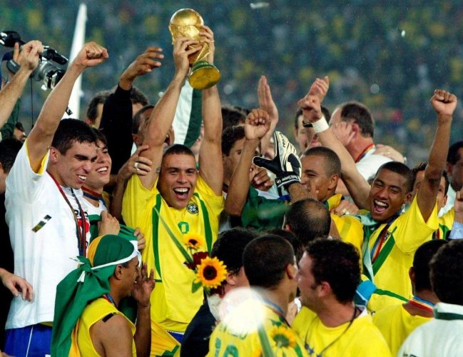 Brazil's Ronaldo (centre) celebrates with team-mates after their triumph in the 2002 World Cup.