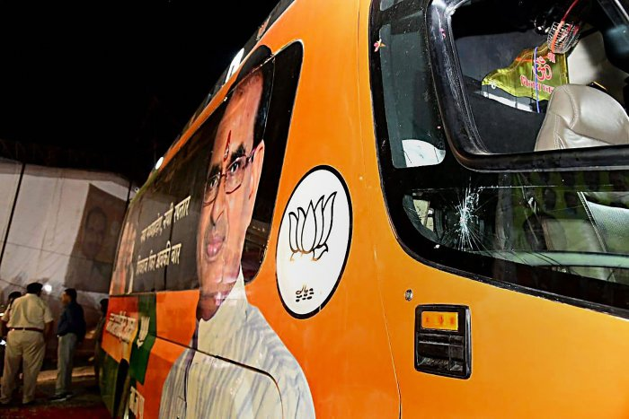 A view of the damaged bus of Madhya Pradesh Chief Minister Shivraj Singh Chouhan after he was attacked on board during his 'Jan Ashirwad Yatra', in Sidhi on September 2, 2018. PTI file photo