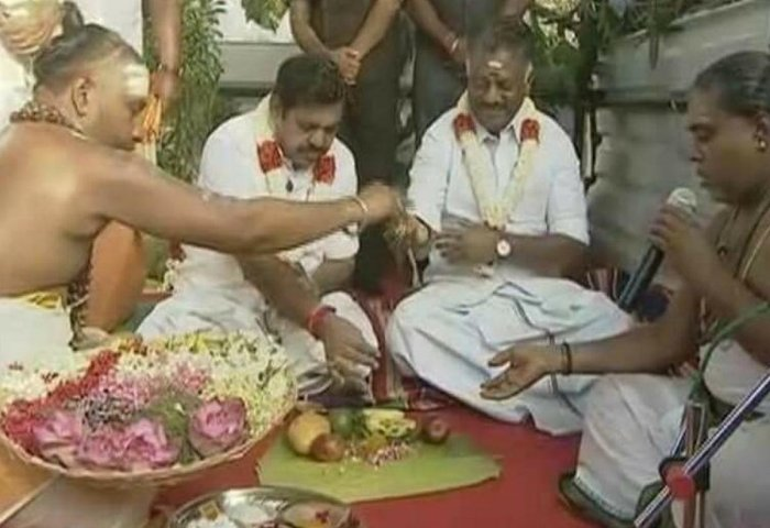 Tamil Nadu Chief Minister K Palaniswami and his deputy O Panneerselvam lay the foundation stone for a memorial to late chief minister J Jayalalithaa, in Chennai on Monday.
