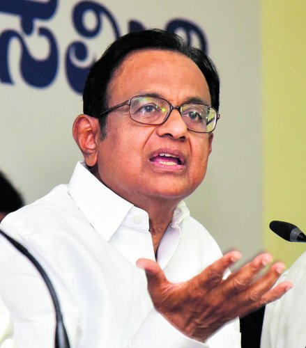 Former Union Finance Minister P Chidambaram seen during the Press Conference at KPCC Office, in Bengaluru on Tuesday 8th May 2018. Photo/ B H Shivakumar
