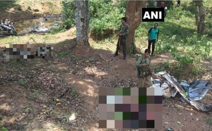 3 jawans of Chhattisgarh Armed Force & 2 jawans of District Force killed and 2 jawans injured in an IED blast on a police vehicle in Dantewada's Cholnar Village. ANI photo.