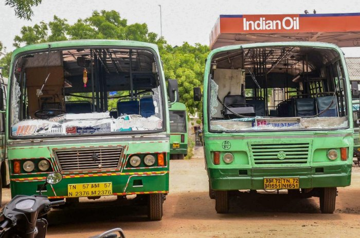 Buses vandalised during a violent protest against the closure of Vedanta's Sterlite Copper unit, in Tuticorin, on Thursday. Over 100 people were arrested for protesting police firing on Tuesday and Wednesday in the port city that left 13 dead. PTI file ph