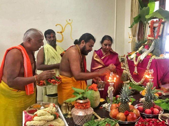 Kannika Parameshwari performs puja at DyCM's office in Vidhana Soudha on Sunday.
