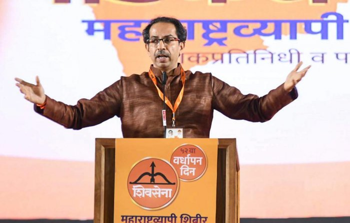 Shiv Sena Chief Uddhav Thackeray addresses the party workers on the occasion of 52nd Foundation Anniversary in Mumbai. PTI photo.
