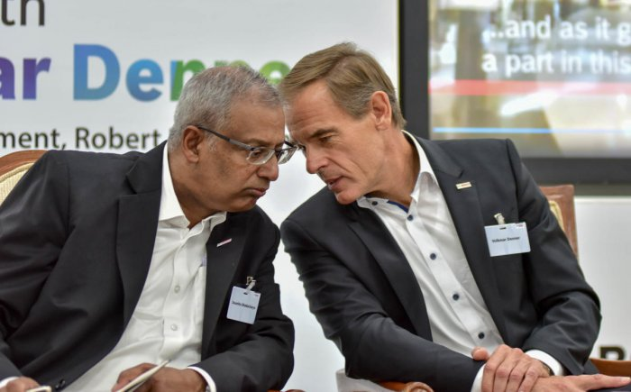 Volkmar Denner and Soumitra Bhattacharya, Managing Director, Bosch Limited and President, Bosch India Group, at a press conference in Bengaluru on Wednesday. DH Photo