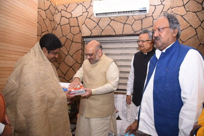 Amit Shah with Surendra Dubey.