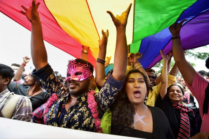 Members and supporters of the LGBT community are seen during Namma Pride Bengaluru Queer Habba rally. PTI