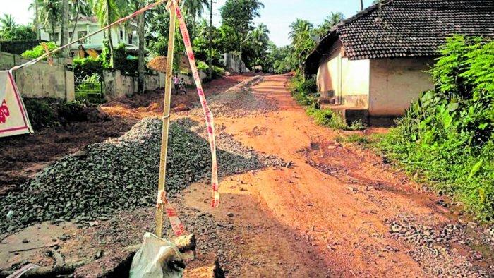 The condition of the road at Pakkaladka in Mangaluru.