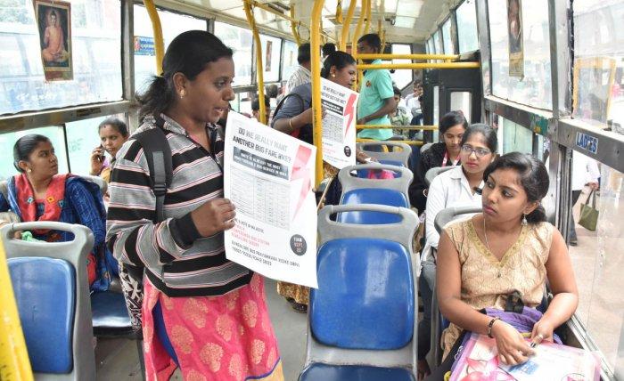Volunteers of Bengaluru Bus Prayanikara Vedike campaign against the proposed fare hike. DH FILE PHOTO
