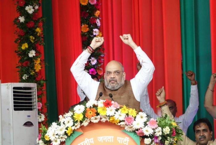 BJP president Amith Shah while addressing Shakti Kendra Karyakartha (Booth Level Workers) in Raipur on Friday.