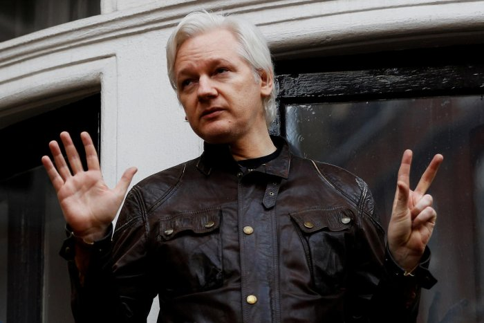 WikiLeaks founder Julian Assange is seen on the balcony of the Ecuadorian Embassy in London, Britain, on May 19, 2017. Reuters