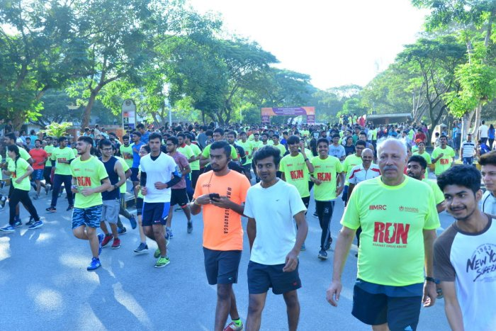 Participants in the five-km run organised to create awareness about menace of drug abuse in Manipal on Sunday.