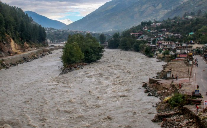 A view of the Beas River after incessant rains, in Kullu, Himachal Pradesh, on Tuesday. PTI