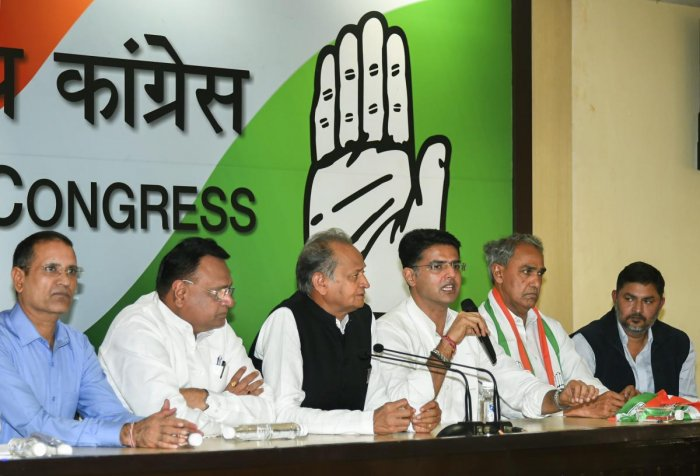 Rajasthan Congress chief Sachin Pilot speaks during a press conference after BJP MP from Dausa Harish Chandra Meena (2nd R) joined the Congress party, at AICC headquarter in New Delhi, Wednesday, Nov 14, 2018. Senior leader and former Rajasthan CM Ashok G
